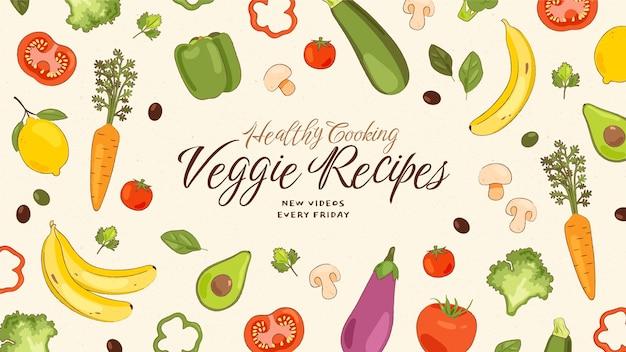 Ręcznie rysowane wegetariańskie jedzenie na youtube