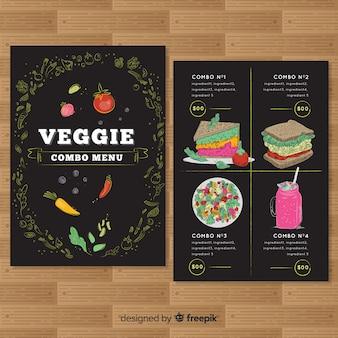 Ręcznie rysowane wegetariańskie menu restauracji szablon