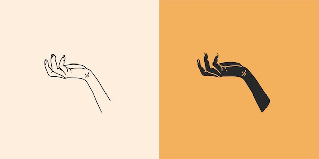 Ręcznie rysowane wektor abstrakcyjna płaska graficzna ilustracja z minimalną kolekcją elementów logo seto...