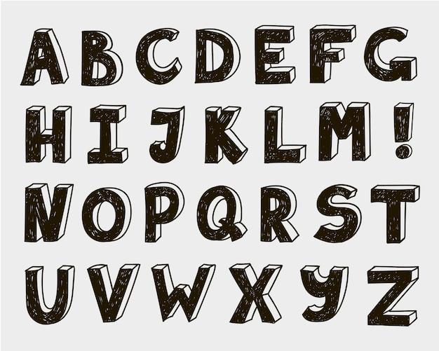 Ręcznie rysowane wektor doodle zestaw liter, alfabet, 3d