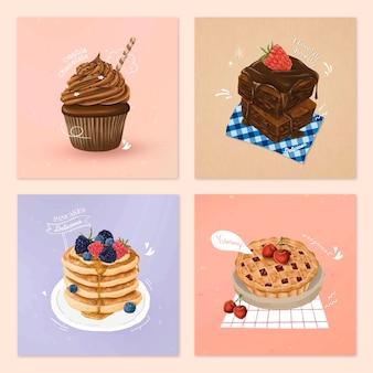 Ręcznie rysowane wektor kolekcji deserów