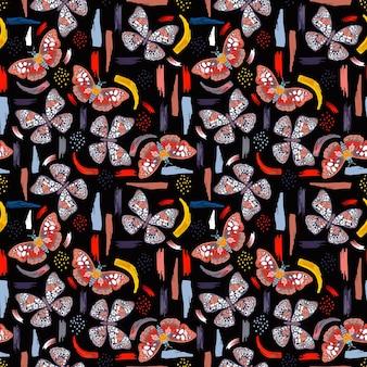 Ręcznie rysowane wektor kolorowe motyle z artystycznymi pociągnięciami pędzla wektor wzór eps10