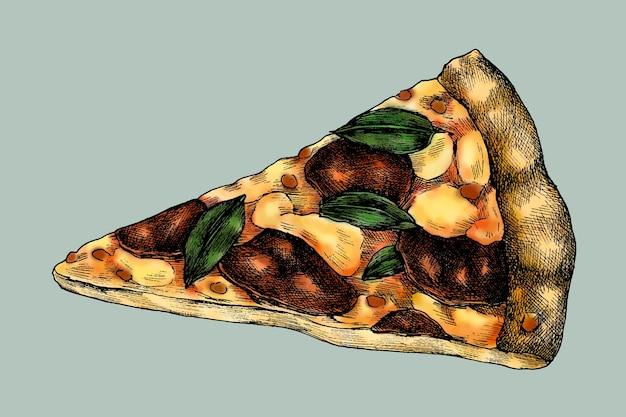 Ręcznie rysowane wektor plasterka pizzy pepperoni