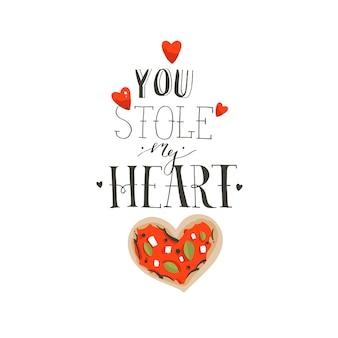 Ręcznie rysowane wektor streszczenie kreskówka happy valentines day koncepcja ilustracje karty