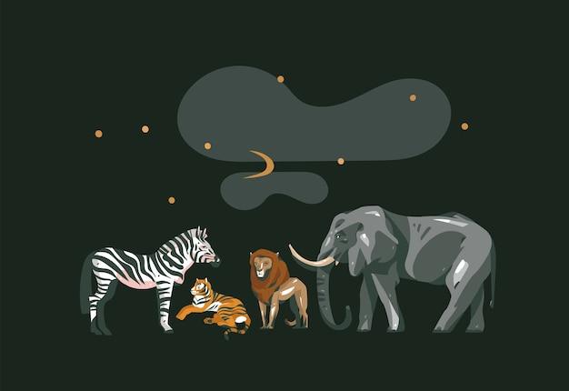 Ręcznie rysowane wektor streszczenie kreskówka nowoczesny graficzny kolaż afrykańskiego safari ze zwierzętami safari na białym tle na czarnym kolorze.