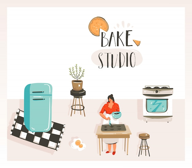 Ręcznie rysowane wektor streszczenie nowoczesny kreskówka gotowania ilustracje klasy z retro starodawny kobieta kucharz, lodówka i piec studio odręcznie nowoczesnej kaligrafii na białym tle