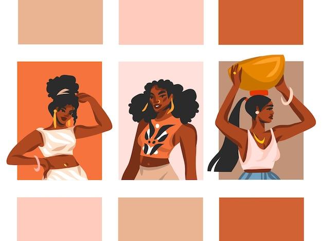 Ręcznie rysowane wektor streszczenie pień grafikę ilustracji z młody szczęśliwy czarny afro amerykański piękno kobiety grupa styl życia avatar kolekcja zestaw na białym tle.