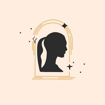 Ręcznie rysowane wektor streszczenie płaskie grafiki ilustracja z logo element bohemian astrologia magia...