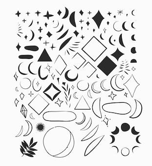 Ręcznie rysowane wektor streszczenie płaskie grafiki ilustracje kolekcja zestaw zestaw z elementami logo bohemi...