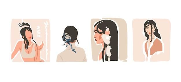Ręcznie rysowane wektor streszczenie zapasów płaska grafika współczesna estetyczna moda ilustracje kolekcja zestaw z cyganerii, piękny nowoczesny kolaż kobiet w minimalistycznym stylu na białym tle.