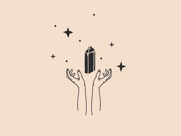 Ręcznie rysowane wektor streszczenie zapasów płaski graficzny ilustracja z elementem logo, artystycznej sztuki magicznej linii kryształ klejnot kamień, kobieta ręka i gwiazda w prostym stylu dla marki, na białym tle na kolor tła.