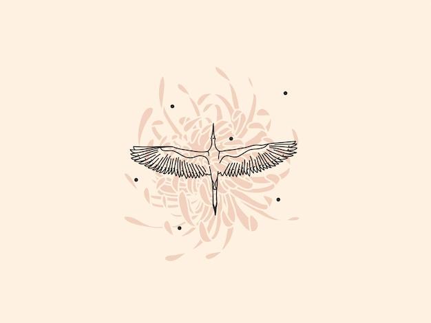 Ręcznie rysowane wektor streszczenie zapasów płaskich graficznych ilustracji z elementem logo