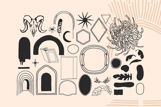 Ręcznie rysowane wektor streszczenie zapasów płaskie ilustracje graficzne alchemia ezoteryczne ikony kolekcja zestaw z elementami logo, magia święta boho księżyc, ramki, gwiazdy, słońce sylwetki na białym tle.