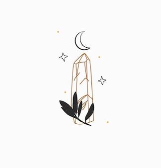 Ręcznie rysowane wektor streszczenie zapasów płaskiej grafiki ilustracji z minimalnym logo elementbohemian magia l...