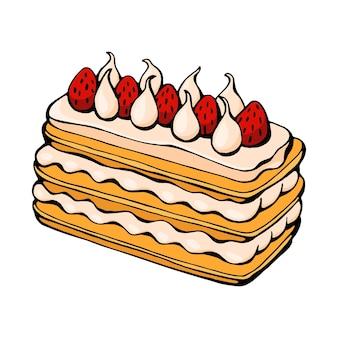 Ręcznie rysowane wektor świąteczny deser na białym tle szkic ciasta na świąteczny projekt