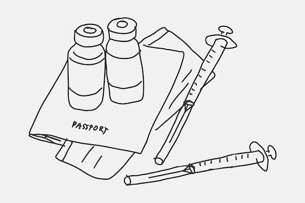 Ręcznie rysowane wektor szczepień, paszport szczepień