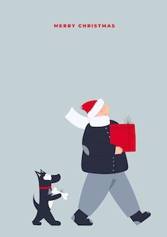 Ręcznie rysowane wektor wesołych świąt i szczęśliwego nowego roku pocztówka z dzieckiem i psem przewożących pudełka na prezenty świąteczne ze sprzedaży świątecznej