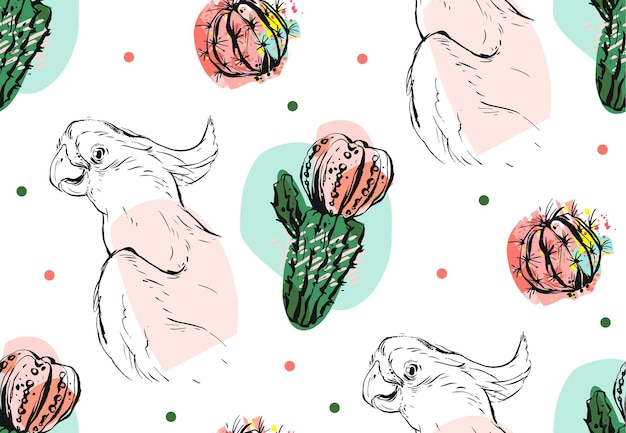Ręcznie rysowane wektor wzór kolażu streszczenie z tropikalnej papugi i soczysty kwiat kaktusa w pastelowych kolorach na białym tle.