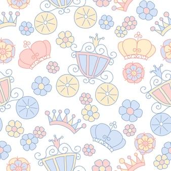 Ręcznie rysowane wektor wzór księżniczki bez szwu