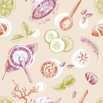 Ręcznie rysowane wektor wzór, organiczne kosmetyki, spa. naturalny.