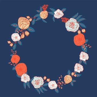 Ręcznie rysowane wektor wzór wieniec kwiatowy