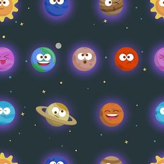 Ręcznie rysowane wektor wzór z planet układu słonecznego