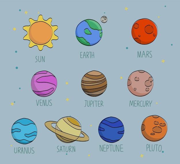 Ręcznie rysowane wektor wzór z słońca, ziemi, układu słonecznego, planet, księżyca, marsa i wenus. kosmiczny ornament na ciemnym tle.