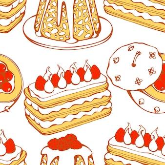 Ręcznie rysowane wektor wzór z świąteczne desery ciasta słodycze