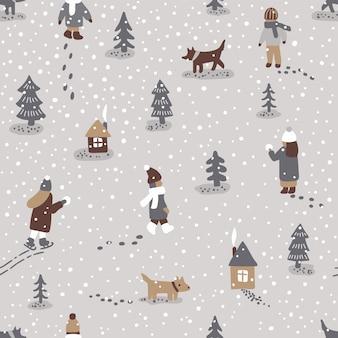 Ręcznie rysowane wektor zabawa zima czas ilustracja. wzór z ludźmi, psami, drzewami i domami
