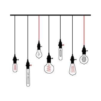 Ręcznie rysowane wektor zestaw różnych lamp geometrycznych na poddaszu z żółtym blaskiem. żarówki i nowoczesny szkic. wektor linii