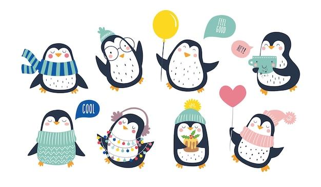 Ręcznie rysowane wektor zestaw słodkie śmieszne pingwiny