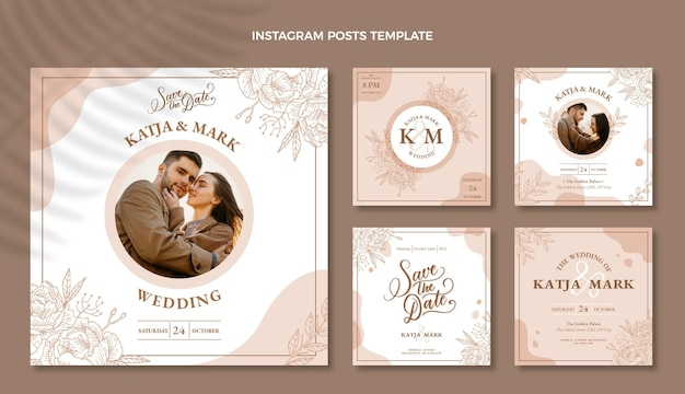Ręcznie rysowane wesele ig post pack