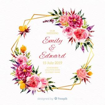 Ręcznie rysowane wesele kwiatowy tło