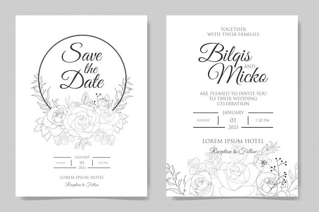 Ręcznie rysowane wesele kwiatowy zaproszenie