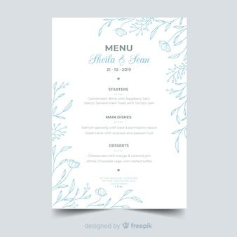Ręcznie rysowane wesele menu szablon