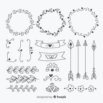 Ręcznie rysowane wesele ornament kolekcja na białym tle