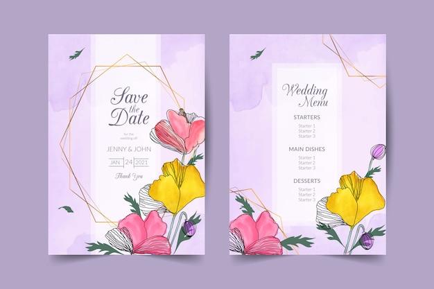 Ręcznie rysowane wesele zaproszenie z akwarela tle kwiatów