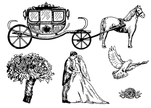 Ręcznie rysowane wesele zestaw