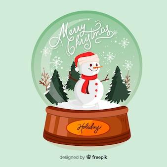 Ręcznie rysowane wesołych świąt bożego narodzenia śnieżki glob