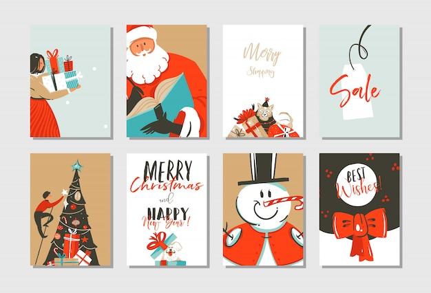 Ręcznie rysowane wesołych świąt i szczęśliwego nowego roku czas coon ilustracja kartki z życzeniami szablon zestaw z choinki, świętego mikołaja, bałwana i psów na białym tle
