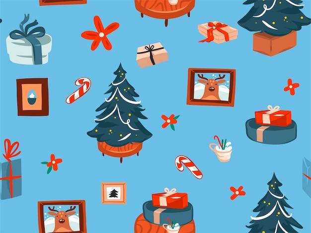 Ręcznie rysowane wesołych świąt i szczęśliwego nowego roku czas kreskówka uroczysty wzór