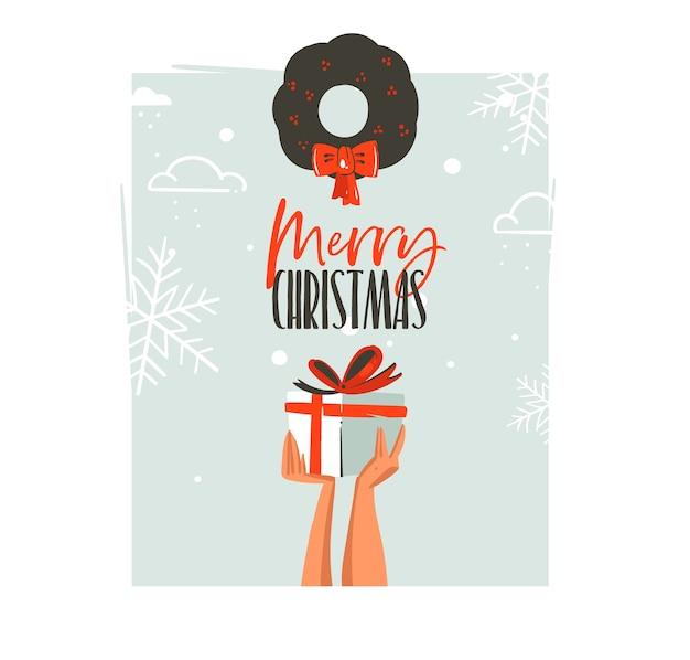Ręcznie rysowane wesołych świąt i szczęśliwego nowego roku ilustracje retro kreskówka kartkę z życzeniami z rękami ludzi, którzy trzymają pudełko prezent niespodzianka i jemioła na białym tle