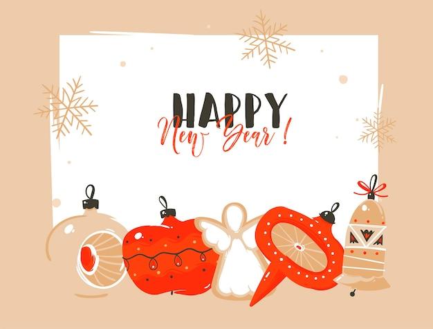 Ręcznie rysowane wesołych świąt i szczęśliwego nowego roku karty świąteczne kreskówki