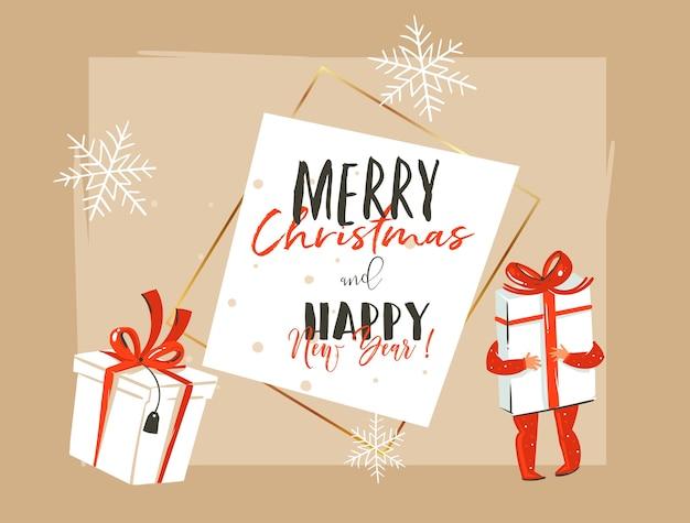 Ręcznie rysowane wesołych świąt i szczęśliwego nowego roku rocznika ilustracja kreskówka szablon nagłówka karty z pozdrowieniami z małym chłopcem trzymając duże pudełko na białym tle