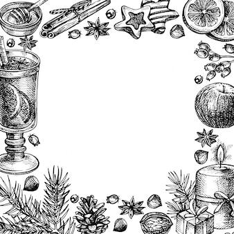 Ręcznie rysowane wesołych świąt i szczęśliwego nowego roku wakacje rama ilustracja.