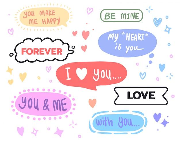 Ręcznie rysowane wiadomość miłość