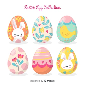 Ręcznie rysowane wielkanoc jajko kolekcja