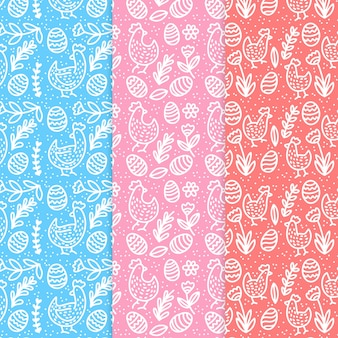 Ręcznie rysowane wielkanoc wzór kolekcji