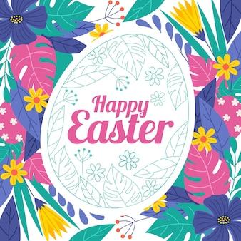 Ręcznie rysowane wielkanocna ilustracja z jajkiem i kwiatami