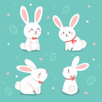 Ręcznie rysowane wielkanocna kolekcja króliczków